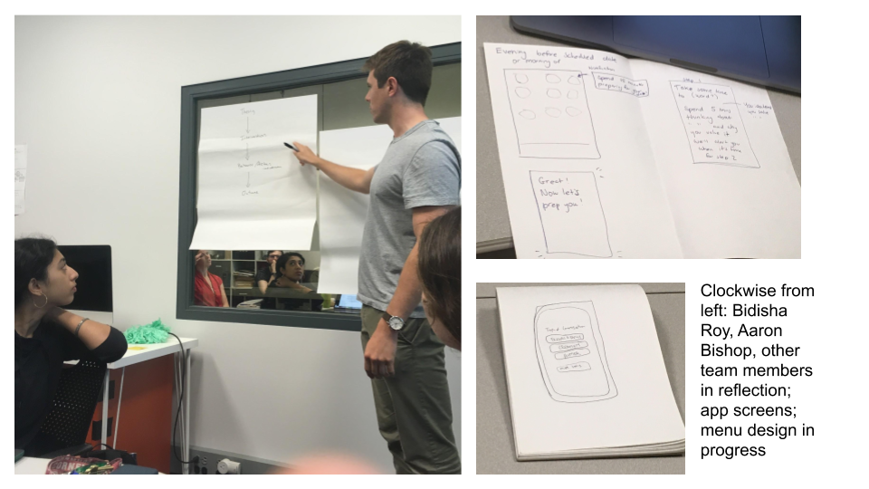 Our team met weekly to discuss our ideas, interpret interview data and share low-fidelity sketches. Three images: One of team members Bidisha Roy and Aaron Bishop with others reflected in the lab mirror; a sketch of possible app screens; a menu design in progress.